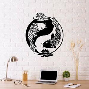 Černá kovová nástěnná dekorace Fish Yin Yang, 41 x 49 cm