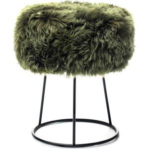 Stolička s tmavě zeleným sedákem z ovčí kožešiny Royal Dream, ⌀36cm