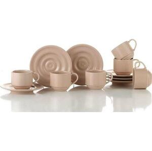 Sada 6 růžových hrnečků s podšálky Kütahya Porselen Basis,90ml