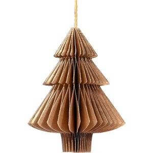 Zlatavě hnědá papírová vánoční ozdoba ve tvaru stromu Only Natural, délka 10 cm