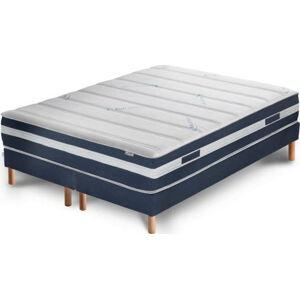 Tmavě modrá postel s matrací a dvojitým boxspringem Stella Cadente Maison Venus Europe, 180x200 cm