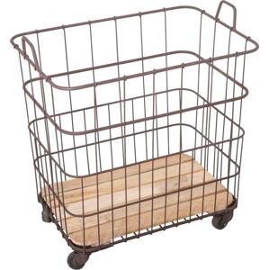 Kovový košík s prvky z mangového dřeva Antic Line Panier,58,5x40,5cm