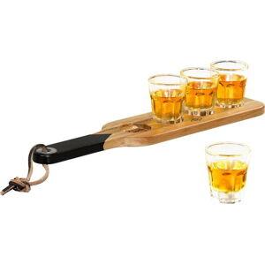 Dřevěné servírovací prkénko a 4 panákové skleničky Gentlemen´s Hardware