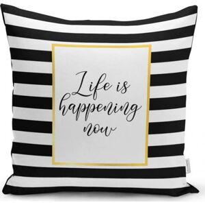 Povlak na polštář Minimalist Cushion Covers BW Stripes With Motto, 45 x 45 cm