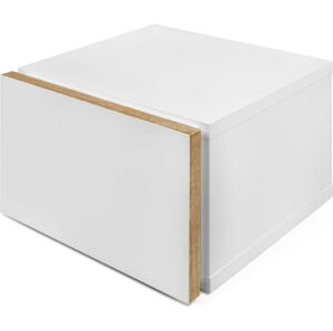 Bílý noční stolek s hnědými hranami TemaHome Float