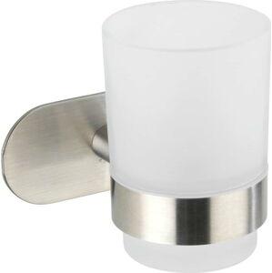 Bílý nástěnný kelímek na kartáčky s držákem z matné nerezové oceli Wenko Uno Bosio Turbo-Loc®