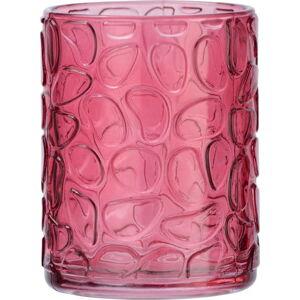 Sytě růžový skleněný kelímek na kartáčky Wenko Vetro Foglia