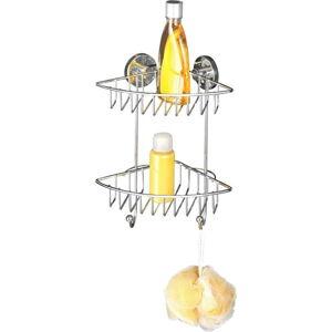 Samodržící dvoupatrová rohová polička Wenko Vacuum-Loc,nosnost až33kg