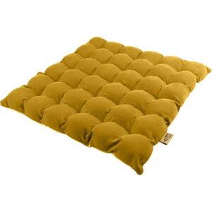Tmavě žlutý sedací polštářek s masážními míčky Linda Vrňáková Bubbles, 65x65cm