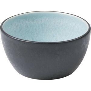 Černá kameninová miska s vnitřní glazurou v bledě modré barvě Bitz Mensa, průměr 10 cm