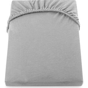 Ocelově šedé elastické bavlněné prostěradlo DecoKing Amber Collection, 100-120 x 200 cm