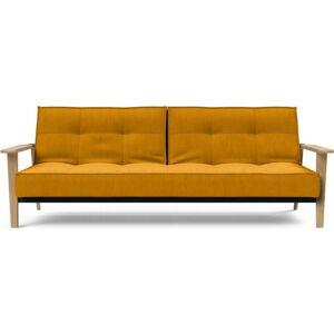 Oranžová rozkládací pohovka s dřevěnými područkami Innovation Splitback