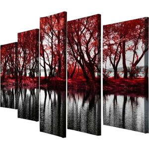 5dílný obraz na plátně Red Leaves