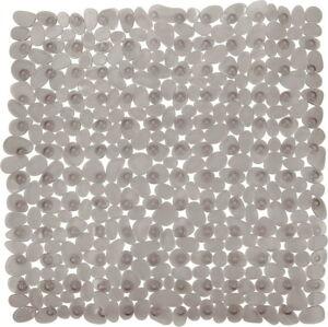 Šedobéžová protiskluzová koupelnová podložka Wenko Drop, 54x54cm
