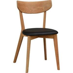 Hnědá dubová jídelní židle s černým sedákem Rowico Ami