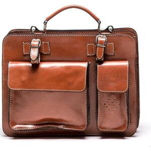 Hnědá kožená kabelka Luisa Vannini, 17 x 28 cm