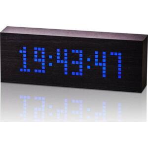 Černý budík s modrým LED displejem Gingko Message Click Clock