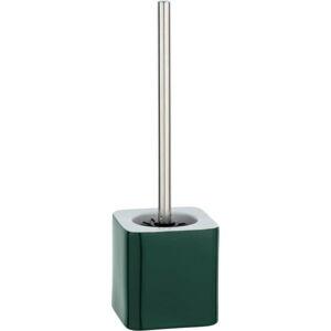 Tmavě zelený keramický toaletní kartáč Wenko Elmo