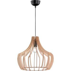 Světle hnědé závěsné svítidlo ze dřeva a kovu Trio Wood, výška 150 cm
