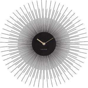 Černé nástěnné hodiny Karlsson Peony,ø45cm