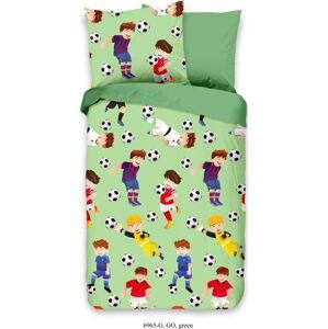 Dětské zelené povlečení z bavlny Good Morning Fotbal, 100 x 135 cm