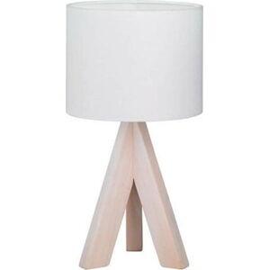 Bílá stolní lampa z přírodního dřeva a tkaniny Trio Ging, výška 31 cm