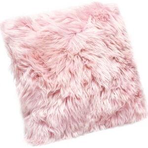 Růžový polštář z ovčí kožešiny Royal Dream Sheepskin, 45x45cm