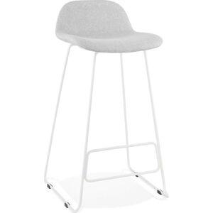 Světle šedá barová stolička s bílými nohami Kokoon Vancouver, výškasedu76cm
