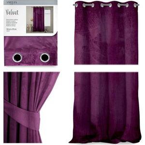 Švestkově fialový závěs AmeliaHome Velvet, 140 x 270 cm