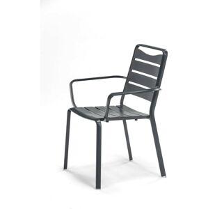 Šedá zahradní hliníková stohovatelná židle s područkami Ezeis Spring