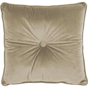 Béžový polštář Tiseco Home Studio Velvet Button, 45x45cm