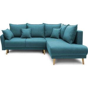 Tyrkysově modrá rozkládací rohová pohovka Bobochic Paris Mia L, pravý roh