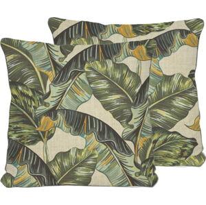 Oboustranný povlak na polštář s příměsí lnu Madre Selva Banana Palm, 45x45cm