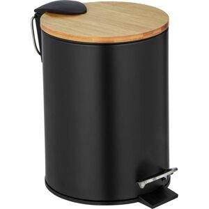 Černý odpadkový koš s bambusovým víkem Wenko Tortona, 3 l