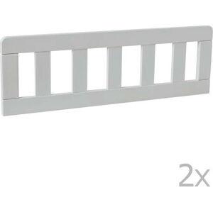 Sada 2 bílých dřevěných zábran k dětské postýlce Pinio Classic, 200 x 90 cm