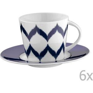 Sada 6 porcelánových hrnků na čaj s podšálky Mertios, 200 ml
