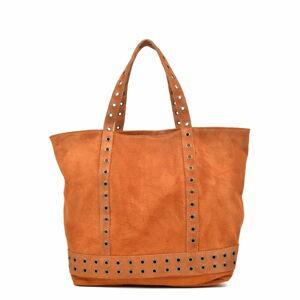 Hnědá kožená kabelka Luisa Vannini, 33 x 50 cm