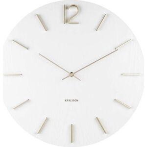 Bílé nástěnné hodiny Karlsson Meek, ⌀50 cm