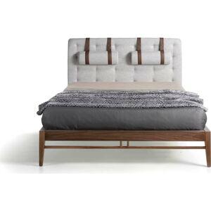 Dvoulůžková postel s nohami z ořechového dřeva Ángel Cerdá Olivia,150x200cm