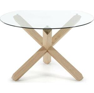 Dubový jídelní stůl se skleněnou deskou La Forma Nori, ø 120 cm