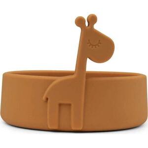 Hořčicově žlutá dětská silikonová miska Done by Deer Peekaboo Raffi