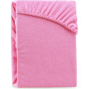 Růžové elastické prostěradlo na dvoulůžko AmeliaHome Ruby Siesta, 220/240 x 220 cm