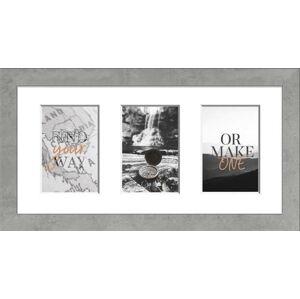 Světle šedý rámeček na 3 fotografie Styler Yellowstone, 23x46cm