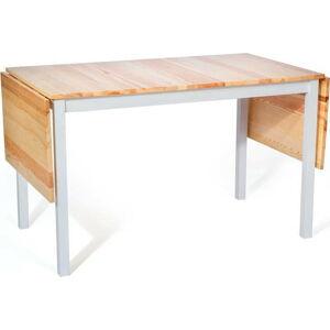 Borovicový rozkládací jídelní stůl s bílou konstrukcí loomi.design Brisbane, 120 (200) x 70 cm