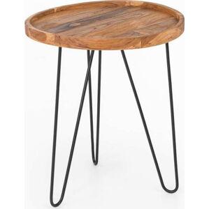 Konferenční stolek Index s železnými nohami WOOX LIVING Patricia, ⌀50cm