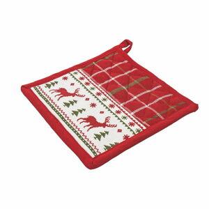 Červená bavlněná vánoční chňapka Villa d'Este Reindeer,20x20cm