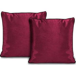 Sada 2 růžových povlaků na polštáře DecoKing Rimavelvet Pink, 45 x 45 cm