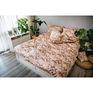 Hnědo-béžové povlečení z bavlněného saténu Cotton House Brenda,140x200cm