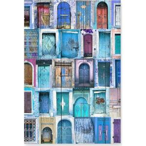 Nástěnná cedule z borovicového dřeva Really Nice Things Blue Doors, 40 x 60 cm