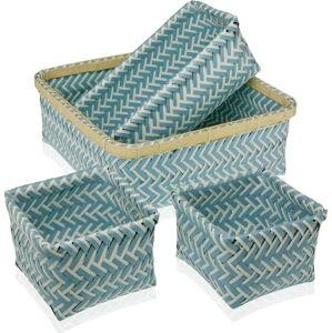 Sada 4 modrých košíků Versa